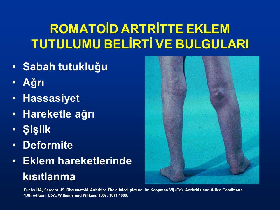 ROMATOİD ARTRİTTE EKLEM TUTULUMU BELİRTİ VE BULGULARI