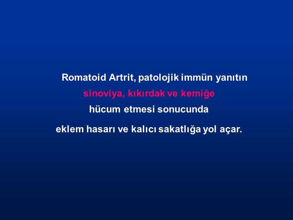 Romatoid Artrit, patolojik immün yanıtın sinoviya, kıkırdak ve kemiğe