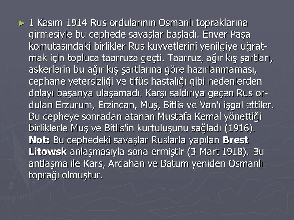 1 Kasım 1914 Rus ordularının Osmanlı topraklarına girmesiyle bu cephede savaşlar başladı.