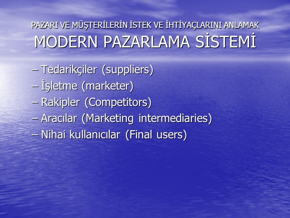 Tedarikçiler (suppliers) İşletme (marketer) Rakipler (Competitors)