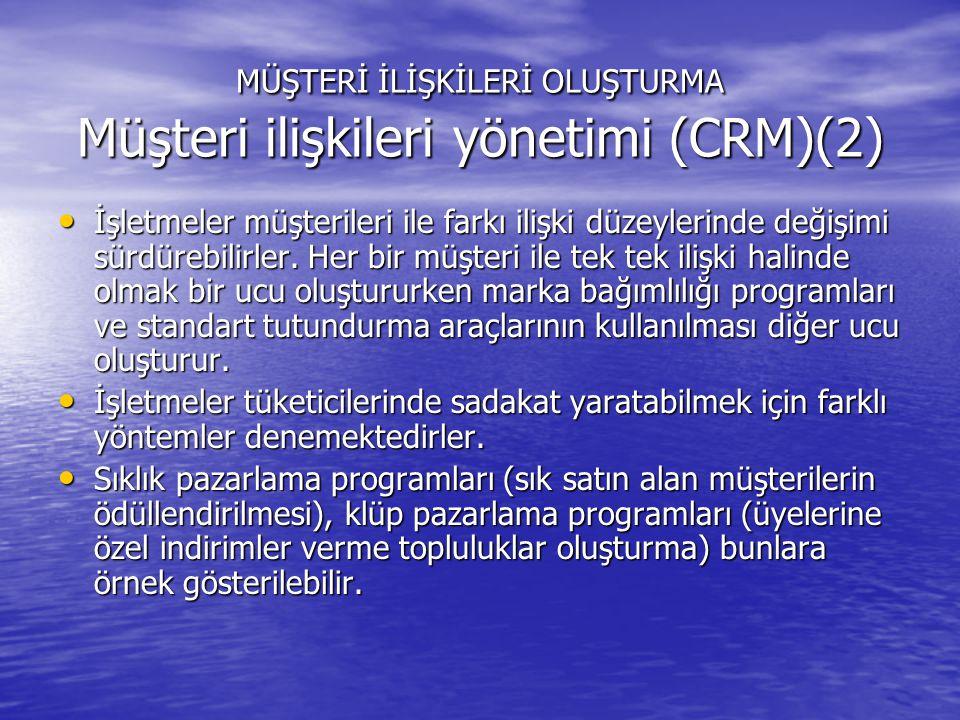MÜŞTERİ İLİŞKİLERİ OLUŞTURMA Müşteri ilişkileri yönetimi (CRM)(2)