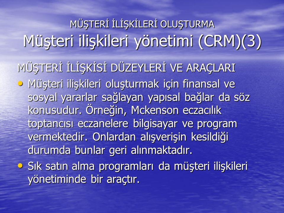 MÜŞTERİ İLİŞKİLERİ OLUŞTURMA Müşteri ilişkileri yönetimi (CRM)(3)