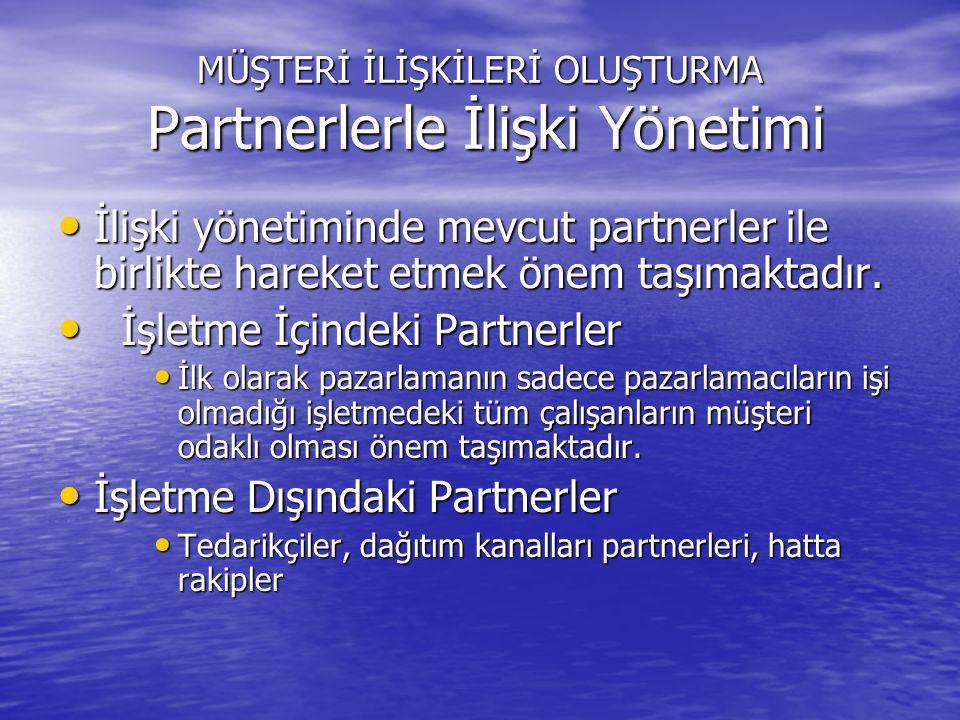 MÜŞTERİ İLİŞKİLERİ OLUŞTURMA Partnerlerle İlişki Yönetimi