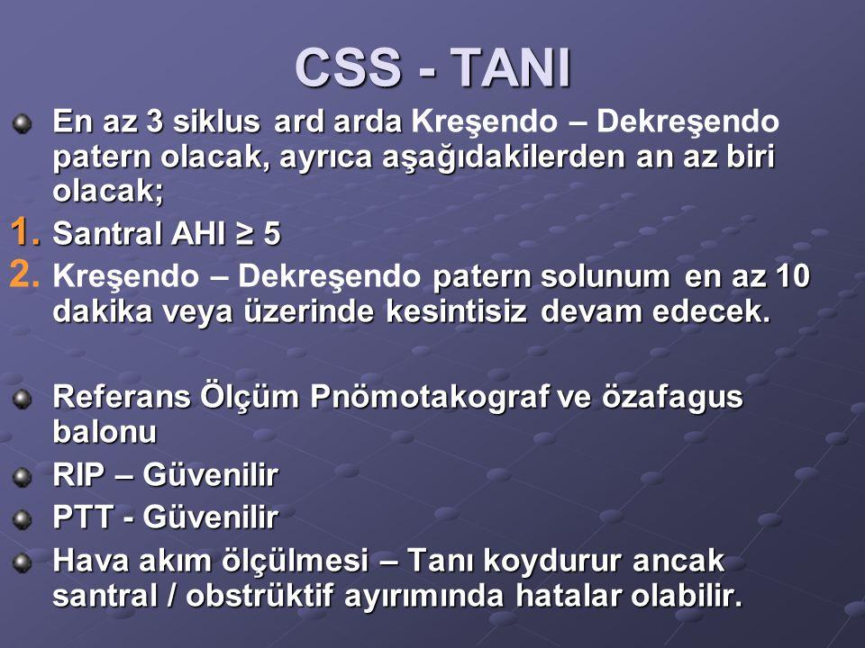 CSS - TANI En az 3 siklus ard arda Kreşendo – Dekreşendo patern olacak, ayrıca aşağıdakilerden an az biri olacak;
