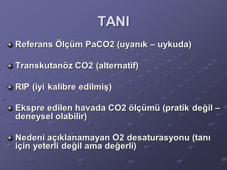 TANI Referans Ölçüm PaCO2 (uyanık – uykuda)