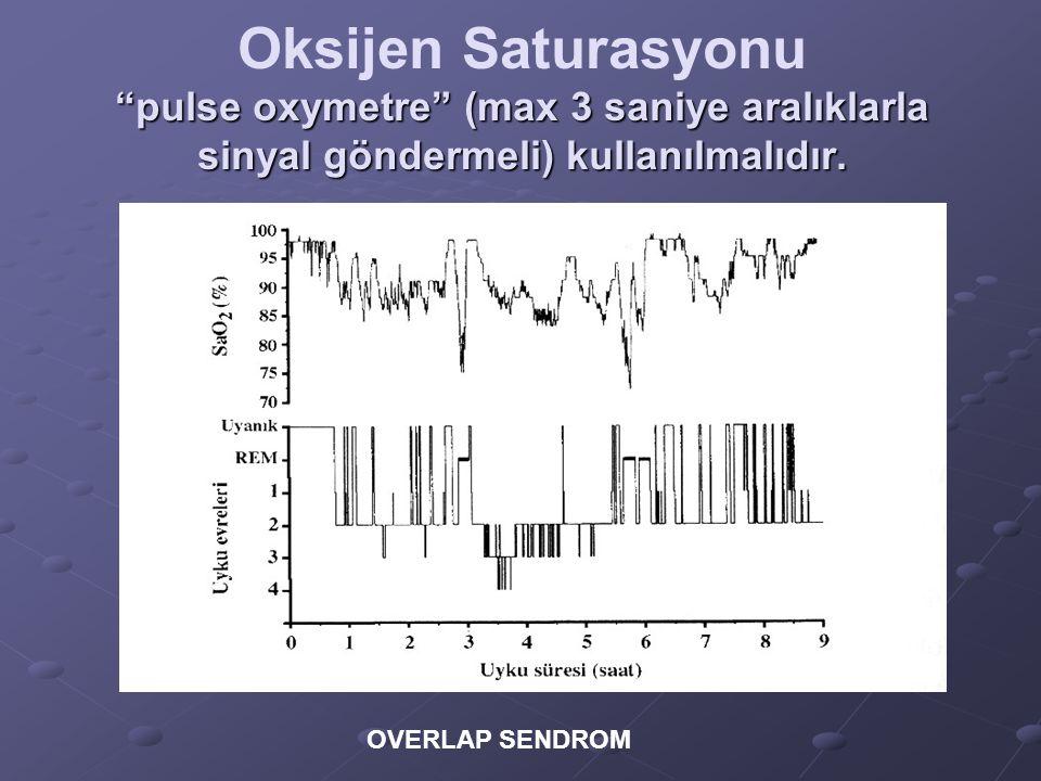 Oksijen Saturasyonu pulse oxymetre (max 3 saniye aralıklarla sinyal göndermeli) kullanılmalıdır.
