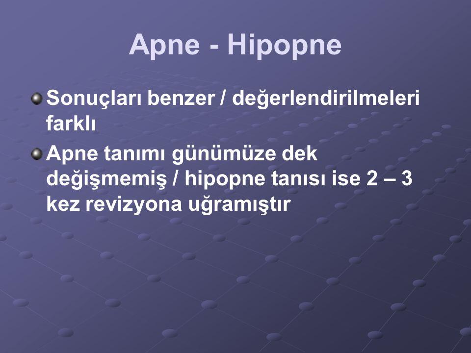 Apne - Hipopne Sonuçları benzer / değerlendirilmeleri farklı