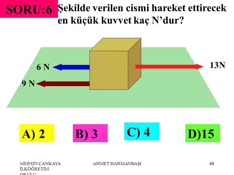 SORU:6 Şekilde verilen cismi hareket ettirecek en küçük kuvvet kaç N'dur 13N. 6 N. 9 N. C) 4. A) 2.