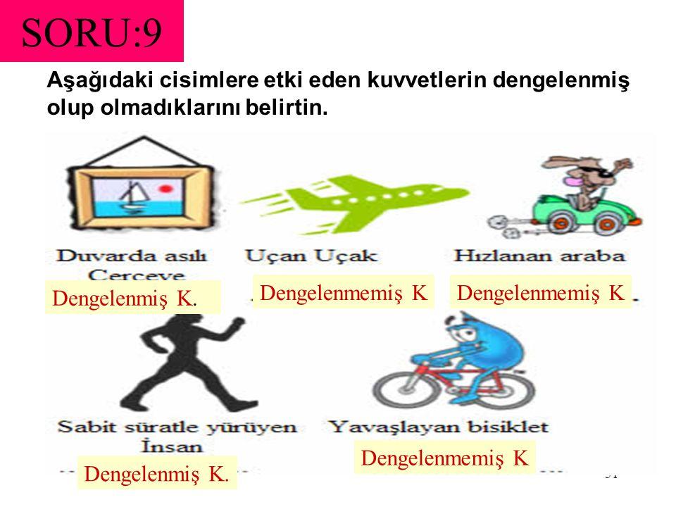SORU:9 Aşağıdaki cisimlere etki eden kuvvetlerin dengelenmiş olup olmadıklarını belirtin. Dengelenmemiş K.