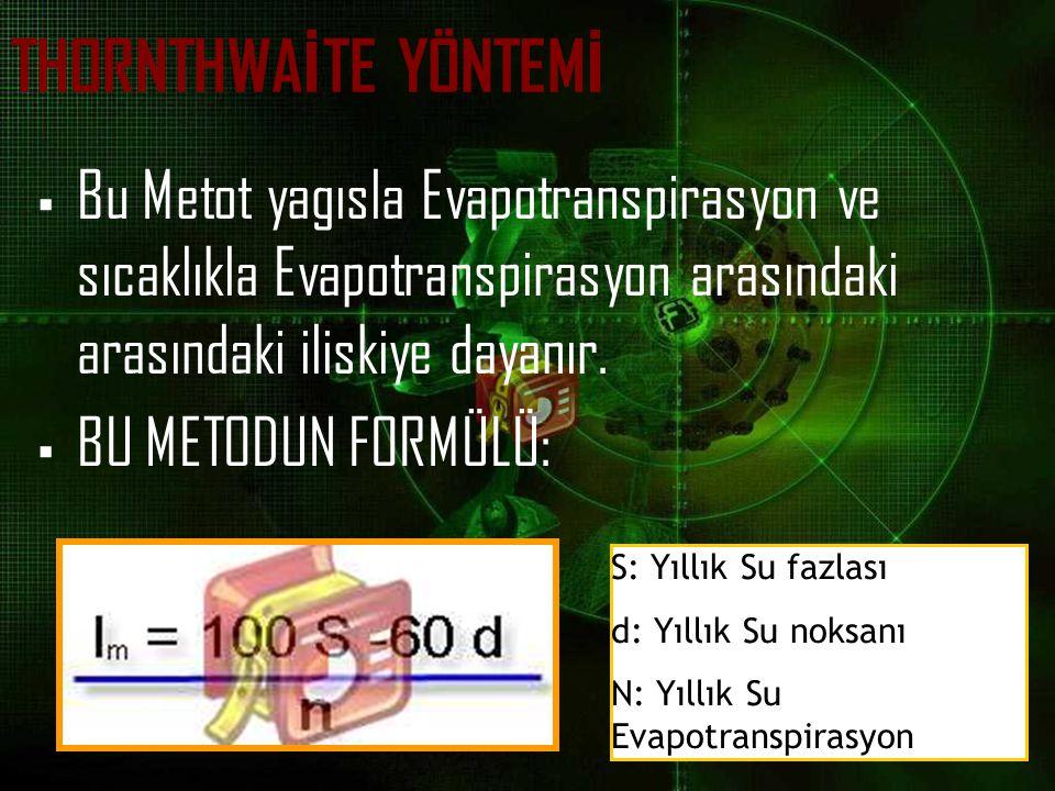 THORNTHWAİTE YÖNTEMİ Bu Metot yagısla Evapotranspirasyon ve sıcaklıkla Evapotranspirasyon arasındaki arasındaki iliskiye dayanır.