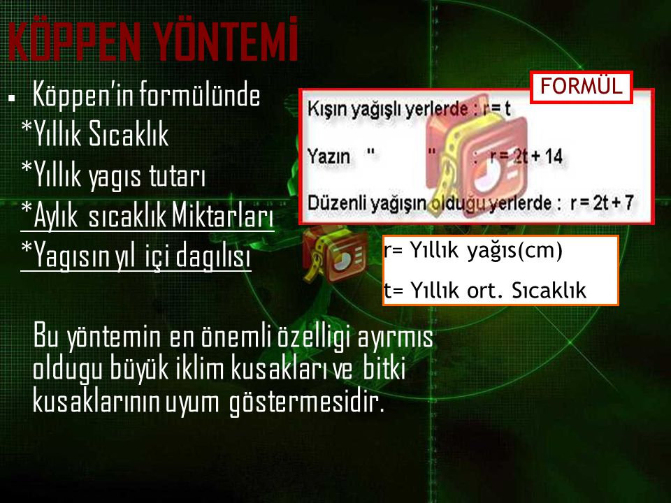 KÖPPEN YÖNTEMİ Köppen'in formülünde *Yıllık Sıcaklık