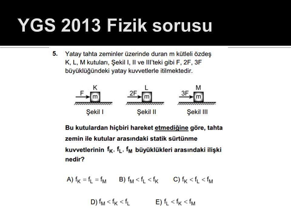 YGS 2013 Fizik sorusu