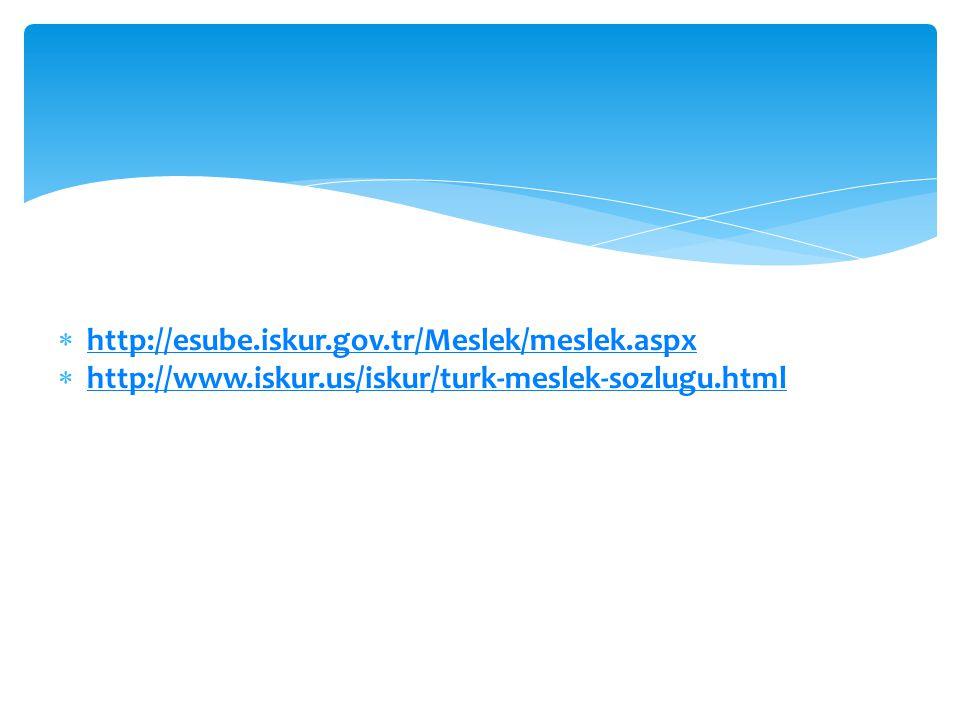 http://esube.iskur.gov.tr/Meslek/meslek.aspx http://www.iskur.us/iskur/turk-meslek-sozlugu.html