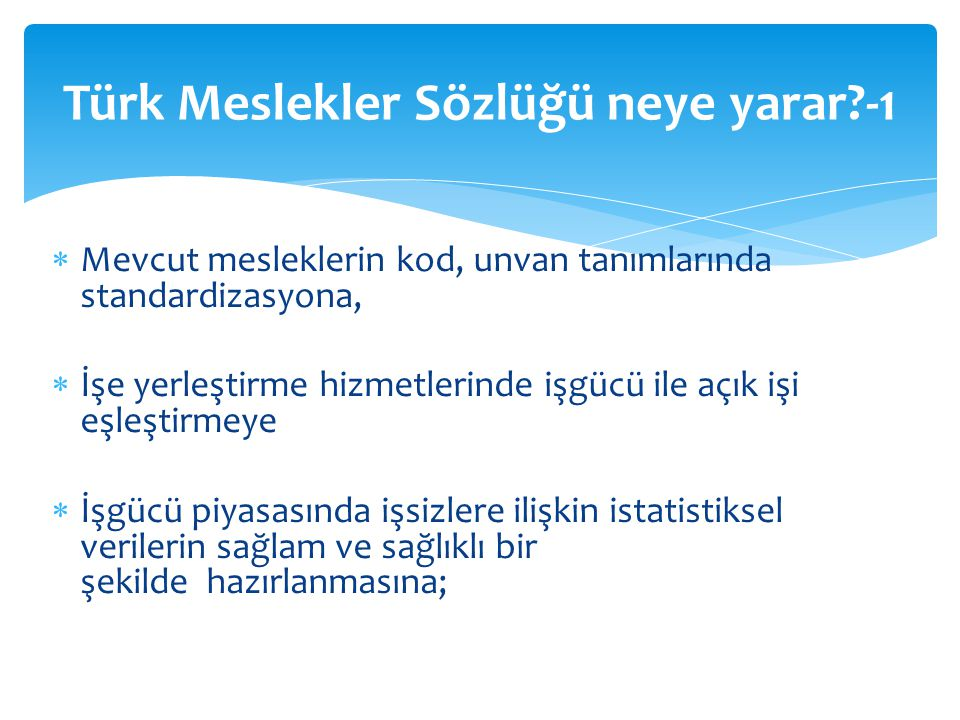 Türk Meslekler Sözlüğü neye yarar -1