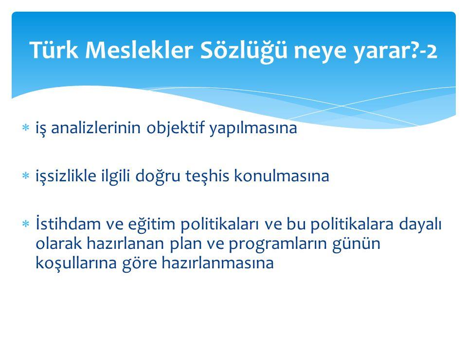Türk Meslekler Sözlüğü neye yarar -2