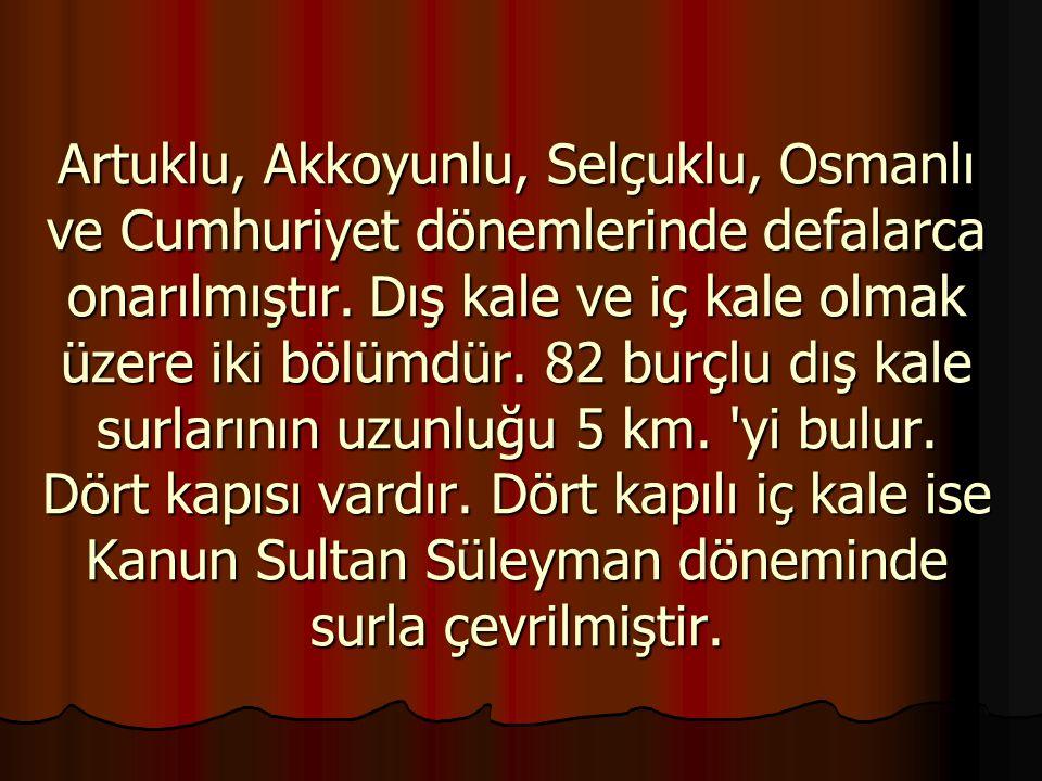 Artuklu, Akkoyunlu, Selçuklu, Osmanlı ve Cumhuriyet dönemlerinde defalarca onarılmıştır.