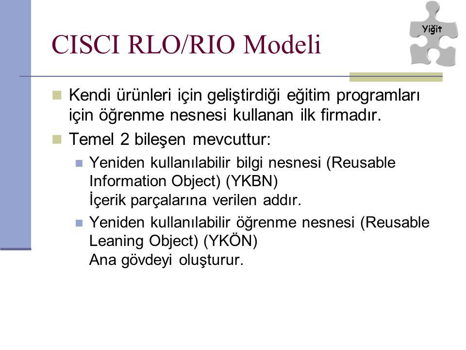 Yiğit CISCI RLO/RIO Modeli. Kendi ürünleri için geliştirdiği eğitim programları için öğrenme nesnesi kullanan ilk firmadır.