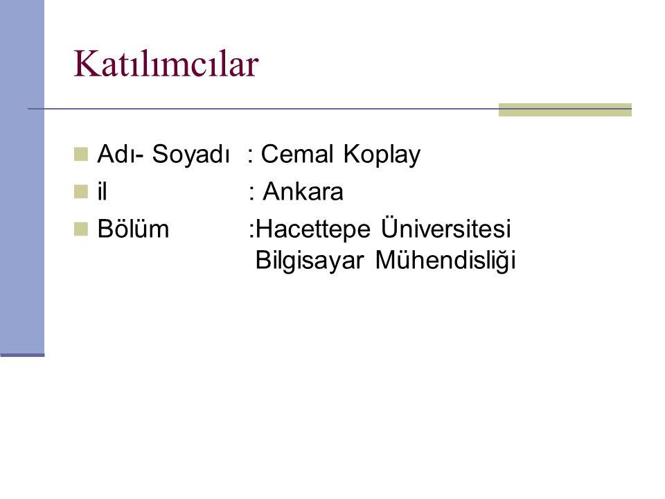 Katılımcılar Adı- Soyadı : Cemal Koplay il : Ankara