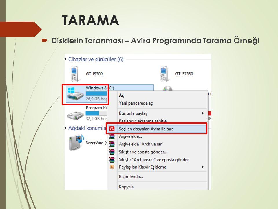 TARAMA Disklerin Taranması – Avira Programında Tarama Örneği
