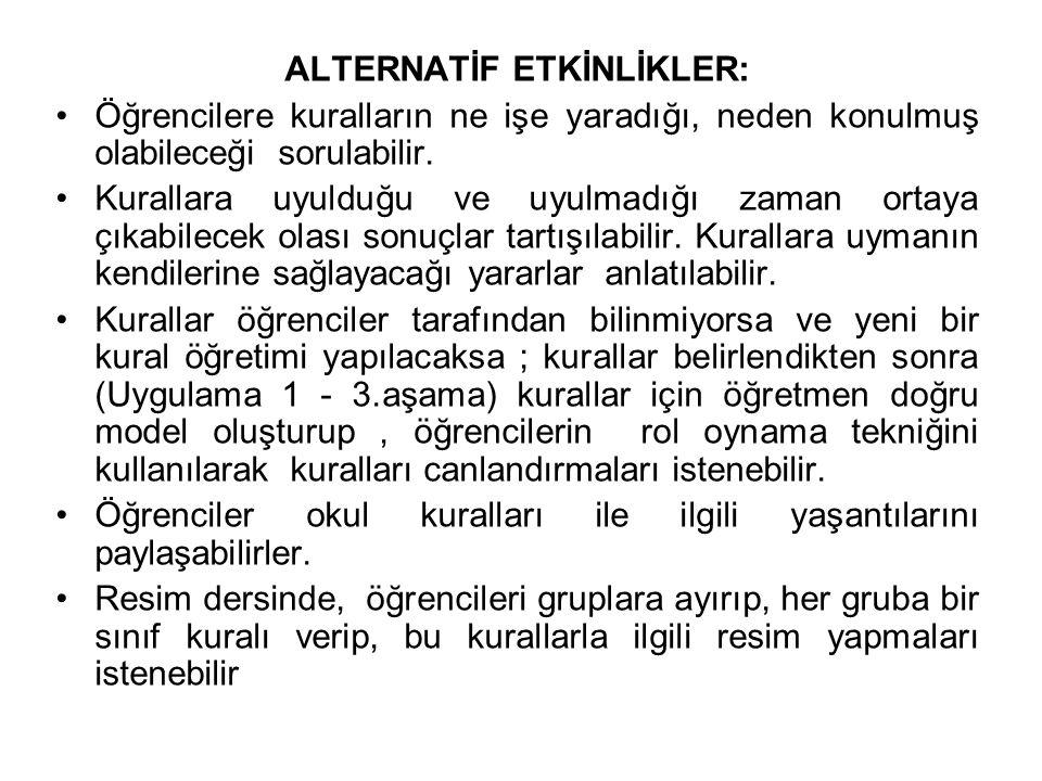 ALTERNATİF ETKİNLİKLER: