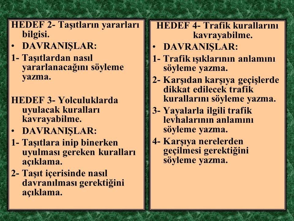 HEDEF 4- Trafik kurallarını kavrayabilme.