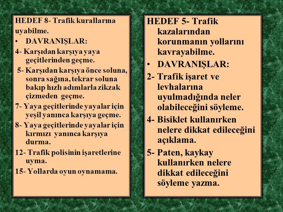 HEDEF 5- Trafik kazalarından korunmanın yollarını kavrayabilme.