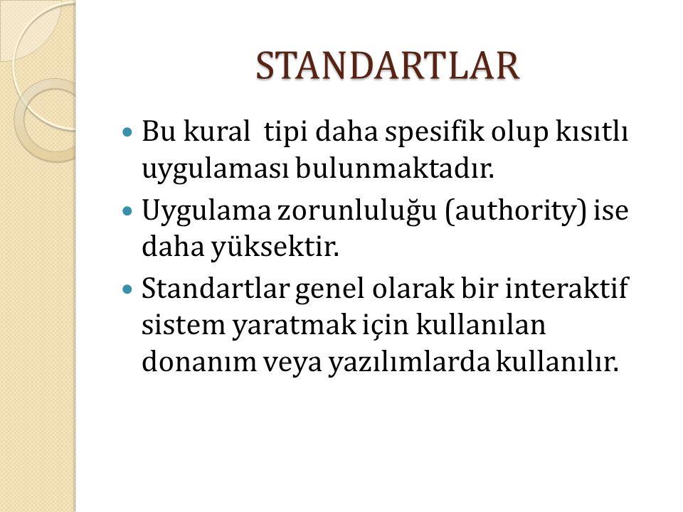 STANDARTLAR Bu kural tipi daha spesifik olup kısıtlı uygulaması bulunmaktadır. Uygulama zorunluluğu (authority) ise daha yüksektir.