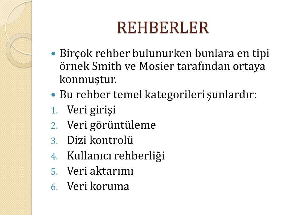 REHBERLER Birçok rehber bulunurken bunlara en tipi örnek Smith ve Mosier tarafından ortaya konmuştur.