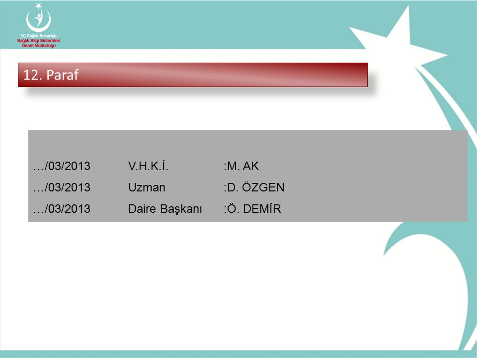 12. Paraf …/03/2013 V.H.K.İ. :M. AK …/03/2013 Uzman :D. ÖZGEN