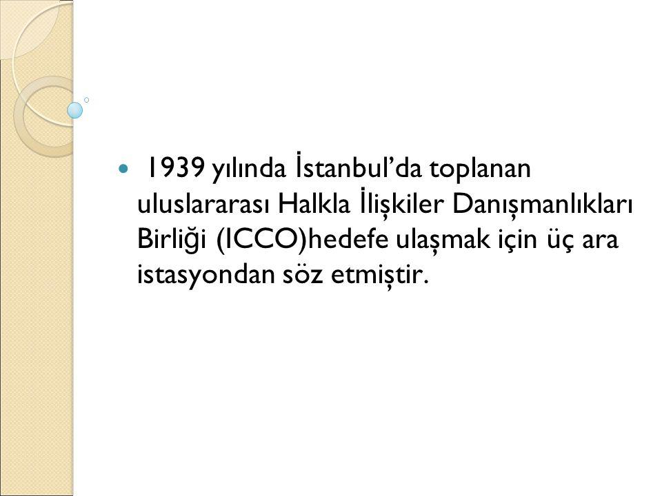 1939 yılında İstanbul'da toplanan uluslararası Halkla İlişkiler Danışmanlıkları Birliği (ICCO)hedefe ulaşmak için üç ara istasyondan söz etmiştir.