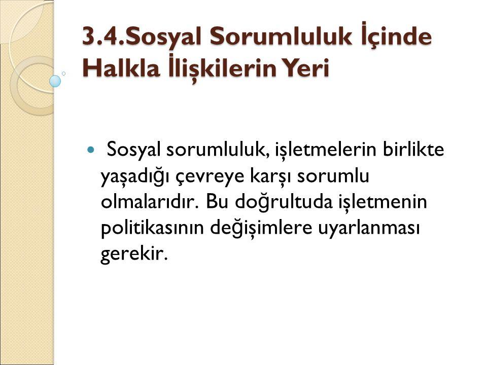 3.4.Sosyal Sorumluluk İçinde Halkla İlişkilerin Yeri