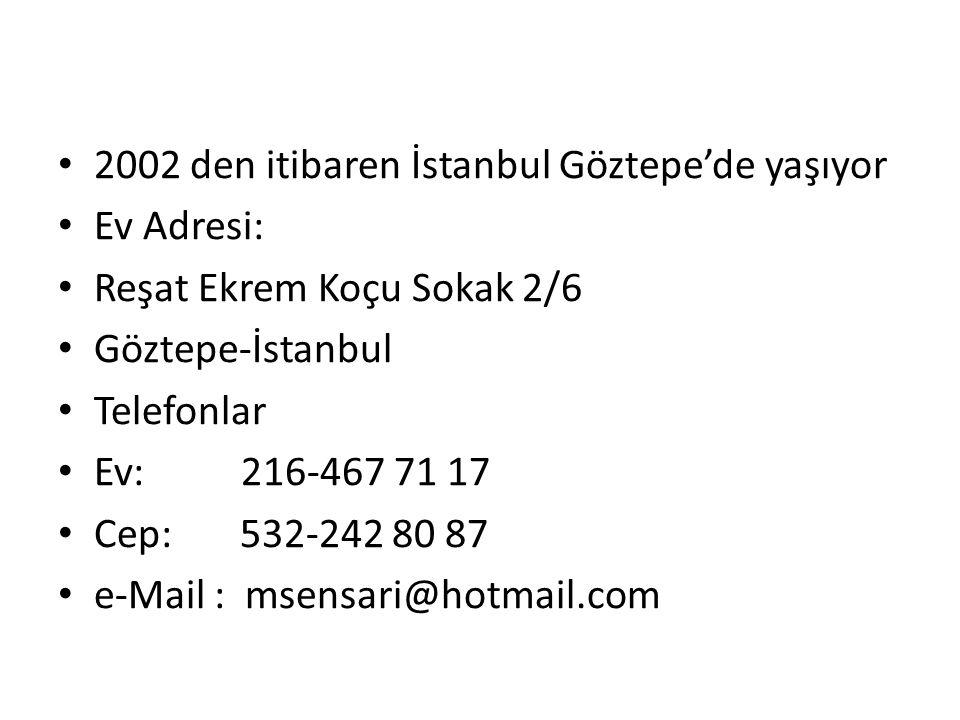2002 den itibaren İstanbul Göztepe'de yaşıyor