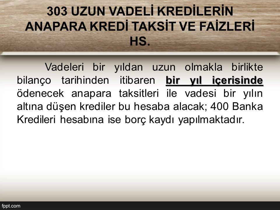 303 UZUN VADELİ KREDİLERİN ANAPARA KREDİ TAKSİT VE FAİZLERİ HS.