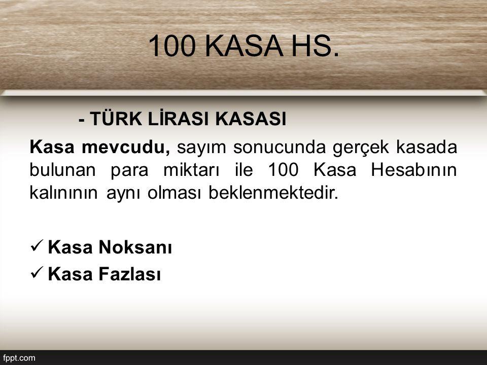 100 KASA HS. - TÜRK LİRASI KASASI