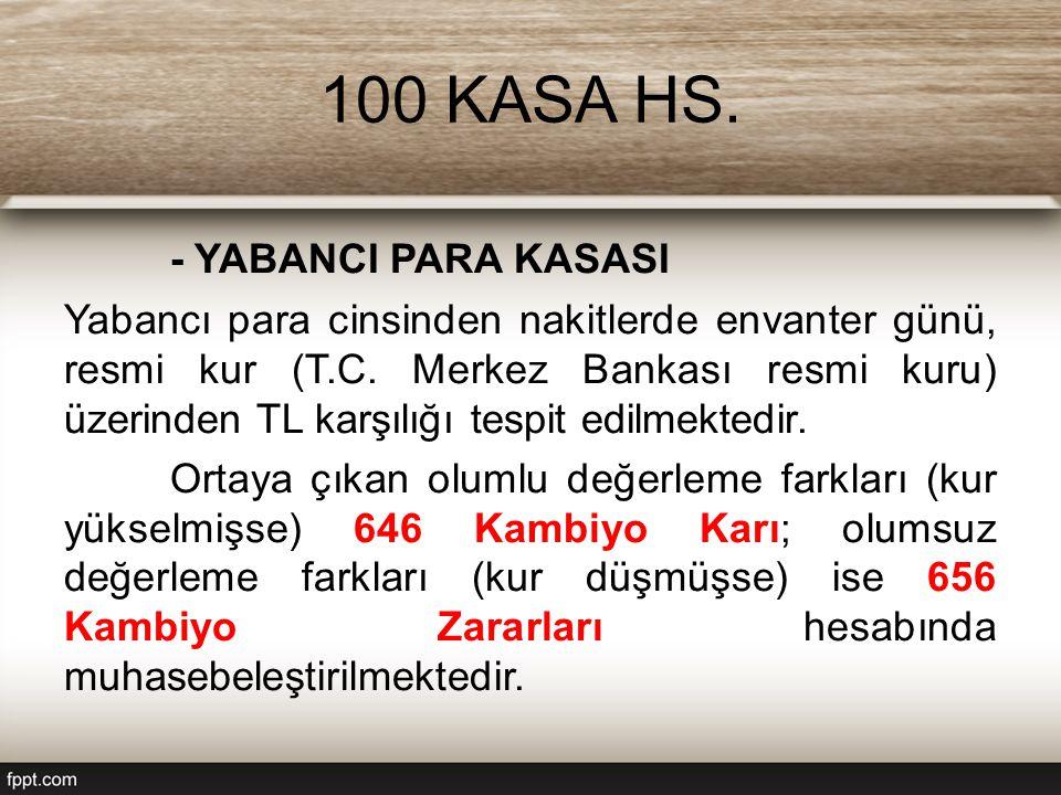 100 KASA HS. - YABANCI PARA KASASI