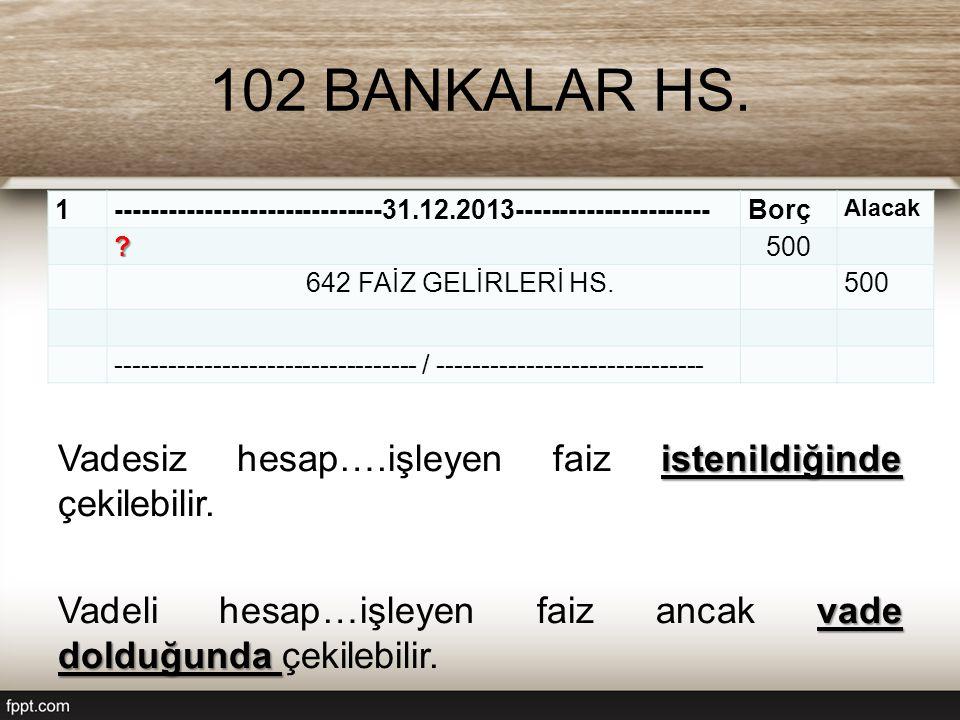 102 BANKALAR HS. 1. ------------------------------31.12.2013---------------------- Borç. Alacak.