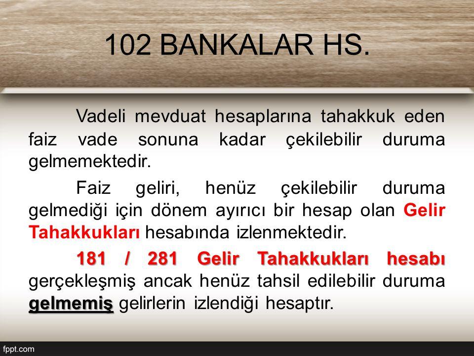102 BANKALAR HS. Vadeli mevduat hesaplarına tahakkuk eden faiz vade sonuna kadar çekilebilir duruma gelmemektedir.
