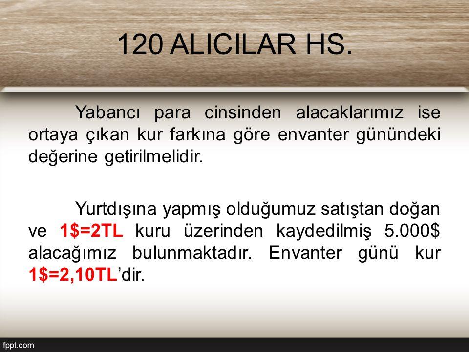 120 ALICILAR HS. Yabancı para cinsinden alacaklarımız ise ortaya çıkan kur farkına göre envanter günündeki değerine getirilmelidir.