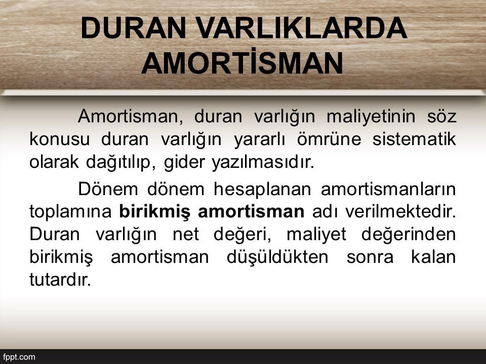 DURAN VARLIKLARDA AMORTİSMAN