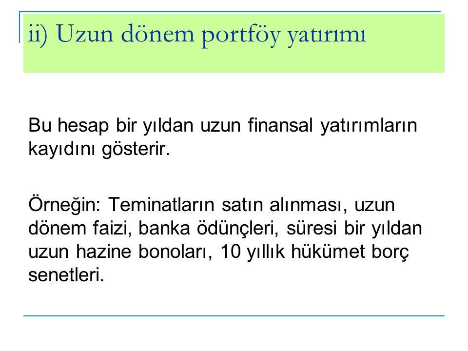 ii) Uzun dönem portföy yatırımı