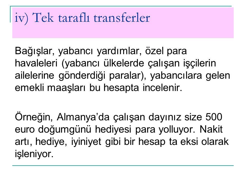iv) Tek taraflı transferler