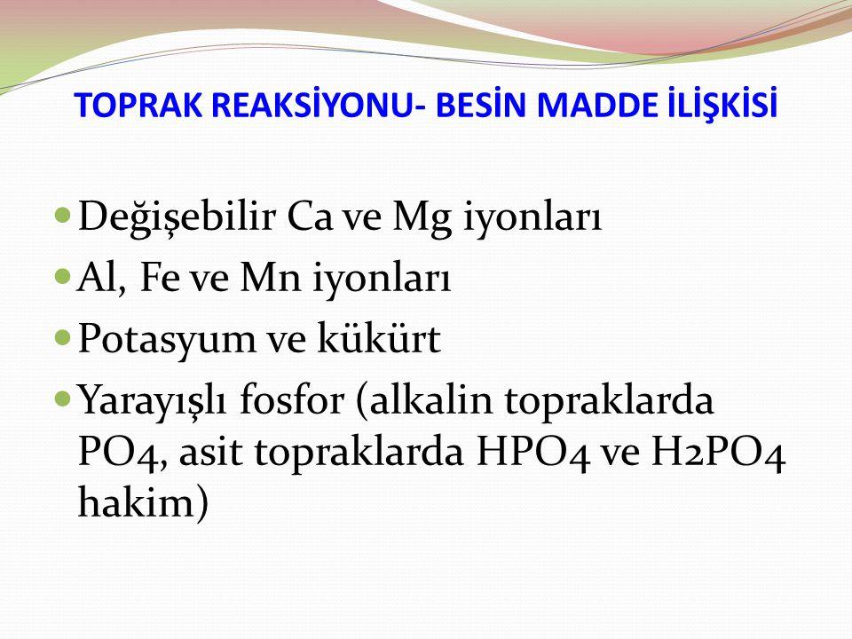 TOPRAK REAKSİYONU- BESİN MADDE İLİŞKİSİ