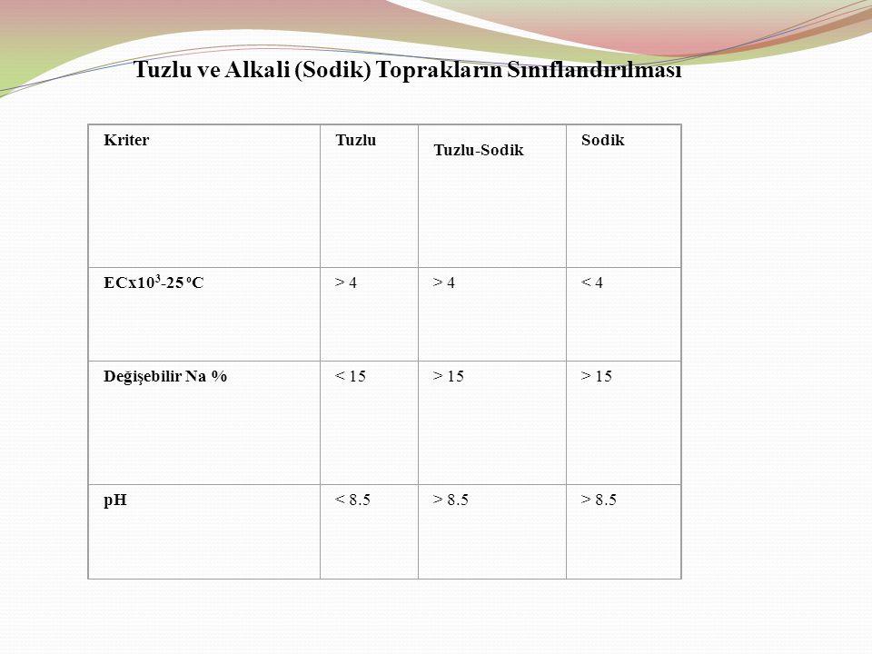 Tuzlu ve Alkali (Sodik) Toprakların Sınıflandırılması