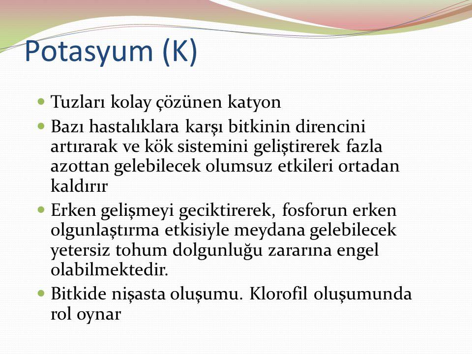 Potasyum (K) Tuzları kolay çözünen katyon