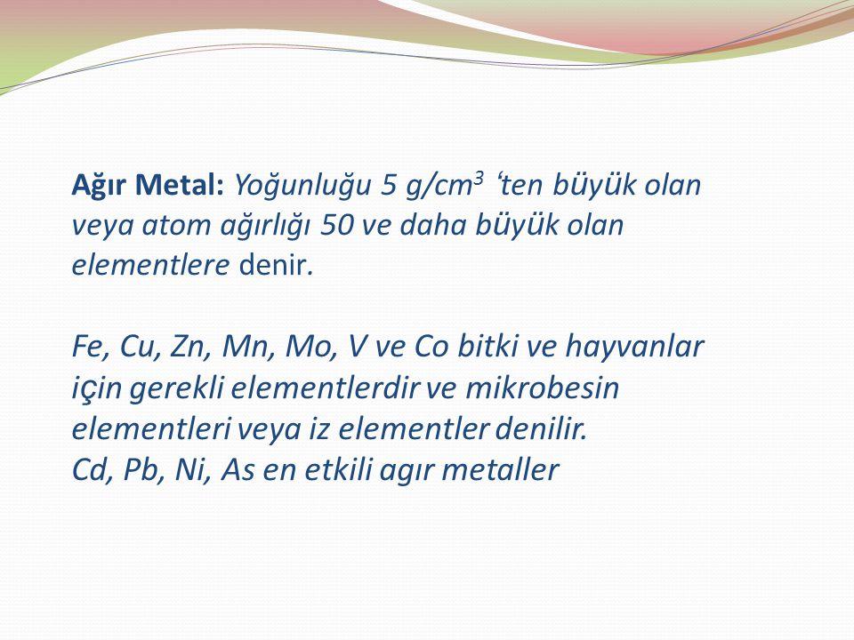 Ağır Metal: Yoğunluğu 5 g/cm3 'ten büyük olan veya atom ağırlığı 50 ve daha büyük olan elementlere denir. Fe, Cu, Zn, Mn, Mo, V ve Co bitki ve hayvanlar için gerekli elementlerdir ve mikrobesin elementleri veya iz elementler denilir. Cd, Pb, Ni, As en etkili agır metaller