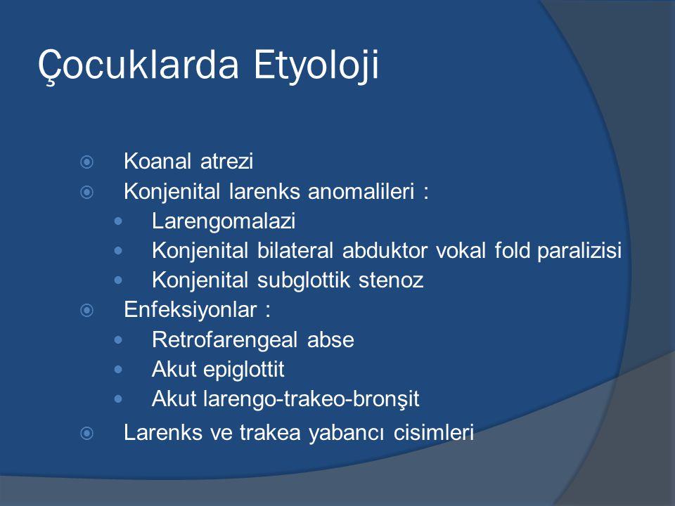 Çocuklarda Etyoloji Koanal atrezi Konjenital larenks anomalileri :