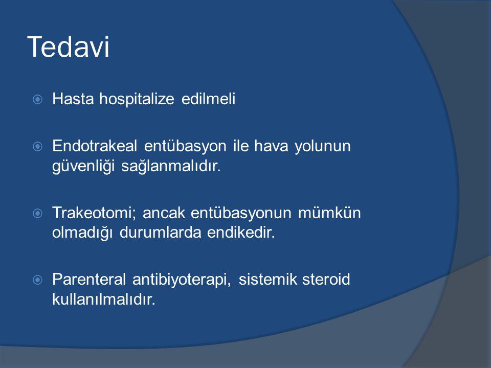 Tedavi Hasta hospitalize edilmeli