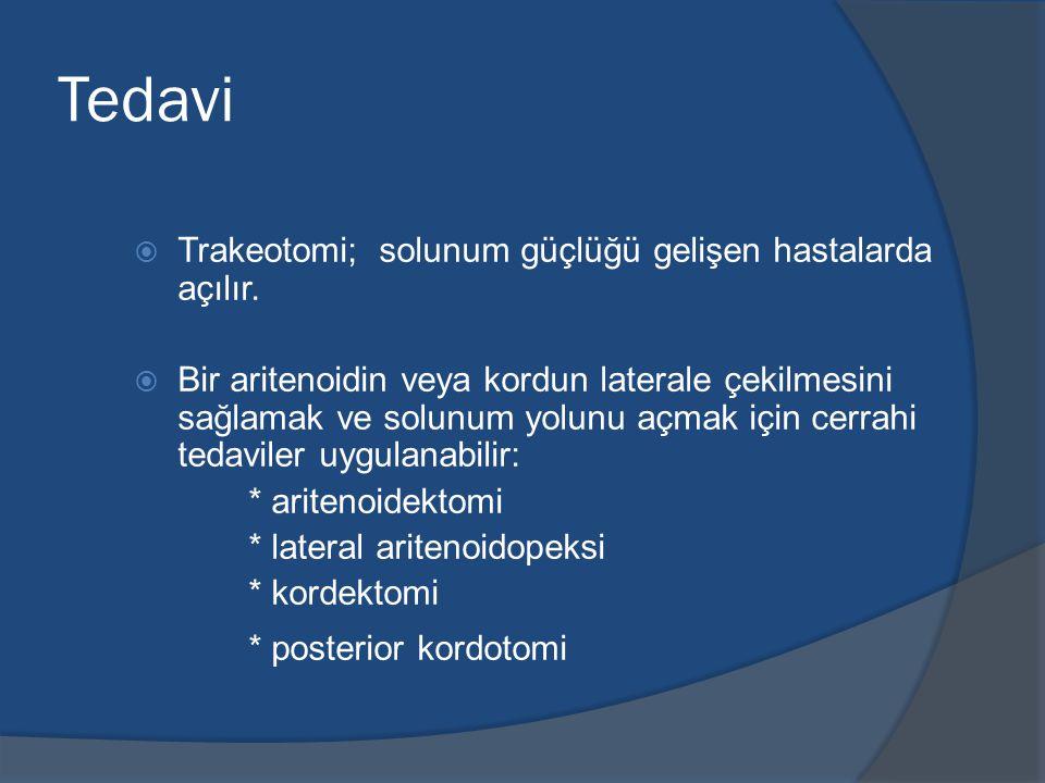 Tedavi Trakeotomi; solunum güçlüğü gelişen hastalarda açılır.