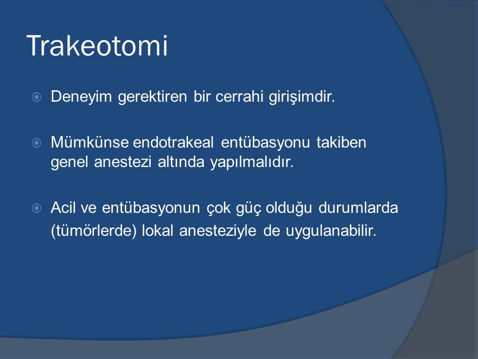 Trakeotomi Deneyim gerektiren bir cerrahi girişimdir.