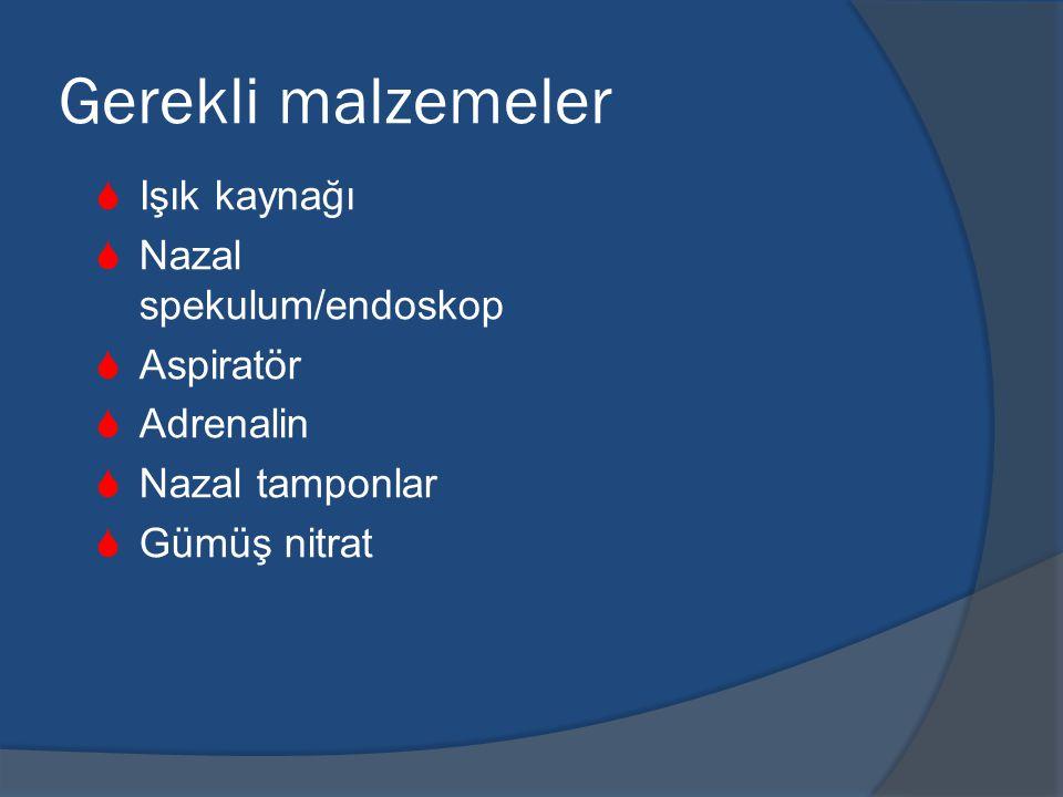 Gerekli malzemeler Işık kaynağı Nazal spekulum/endoskop Aspiratör